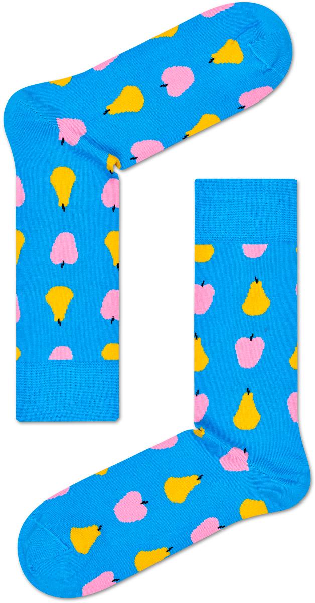Носки женские Happy socks, цвет: голубой, мультиколор. FRU01. Размер 25FRU01Носки Happy Socks, изготовленные из высококачественного материала, дополнены принтом. Эластичная резинка плотно облегает ногу, не сдавливая ее. Усиленная пятка и мысок обеспечивают надежность и долговечность.