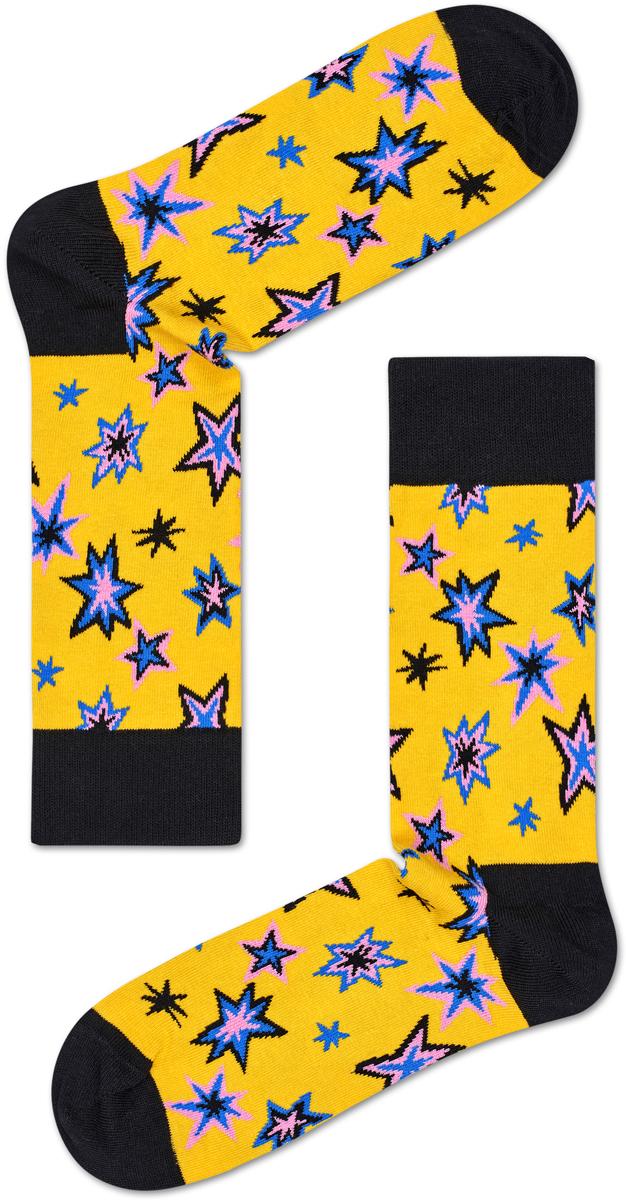 Носки женские Happy socks, цвет: желтый, черный. BNG01. Размер 25BNG01Носки Happy Socks, изготовленные из высококачественного материала, дополнены принтом. Эластичная резинка плотно облегает ногу, не сдавливая ее. Усиленная пятка и мысок обеспечивают надежность и долговечность.