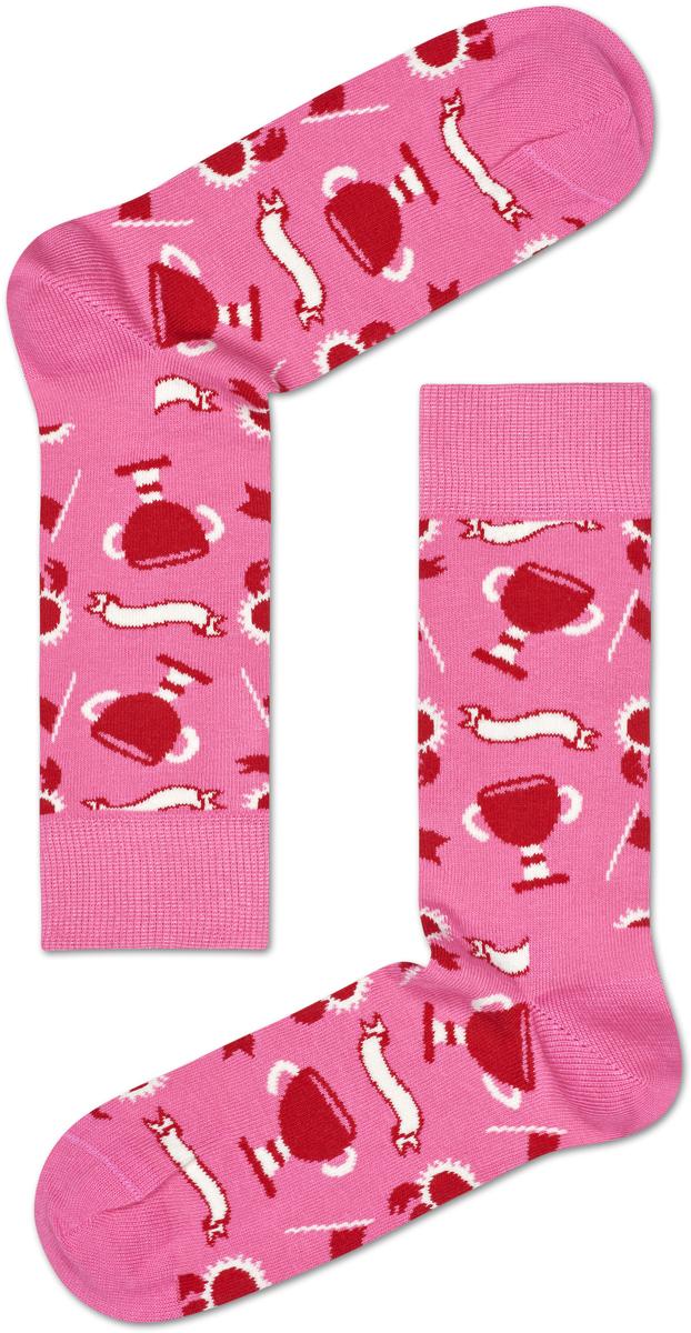 Носки женские Happy socks, цвет: красный, розовый. XMOT08. Размер 25
