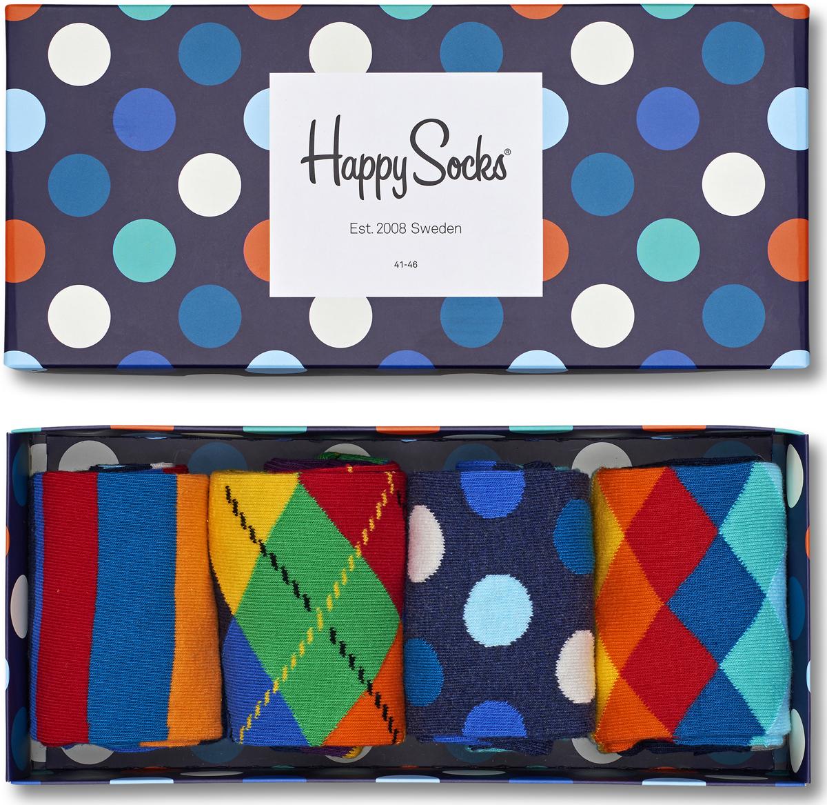 Комплект носков Happy socks, цвет: мультиколор. XMIX09. Размер 25XMIX09Яркие носки Big Bang Socks выполнены из высококачественного хлопка с добавлением полиамида и эластана, которые обеспечивают отличную посадку. В комплект входит четыре пары разноцветных носков с разными принтами. Модель оснащена эластичной резинкой, которая плотно облегает ногу, не сдавливая ее, обеспечивает удобство. Комплект упакован в фирменную коробку.
