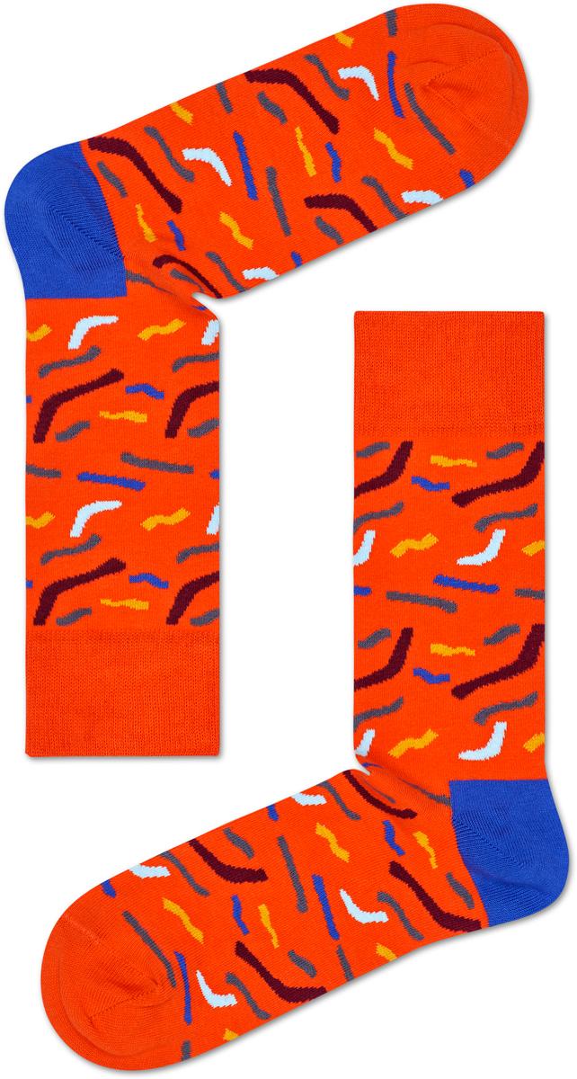 Носки женские Happy socks, цвет: оранжевый, голубой. PAP01. Размер 25PAP01Носки Happy Socks, изготовленные из высококачественного материала, дополнены принтом. Эластичная резинка плотно облегает ногу, не сдавливая ее. Усиленная пятка и мысок обеспечивают надежность и долговечность.