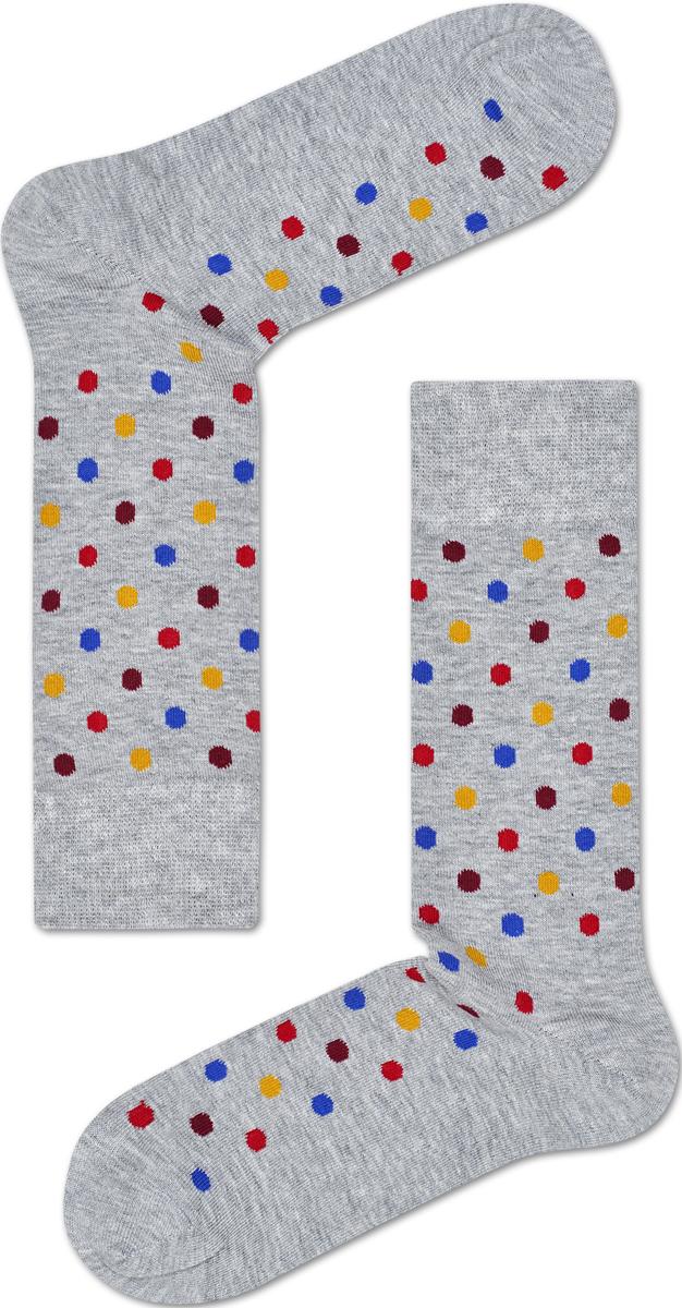 Носки женские Happy socks, цвет: светло-серый, мультиколор. DOT01. Размер 25DOT01Носки Happy Socks, изготовленные из высококачественного материала, дополнены принтом. Эластичная резинка плотно облегает ногу, не сдавливая ее. Усиленная пятка и мысок обеспечивают надежность и долговечность.