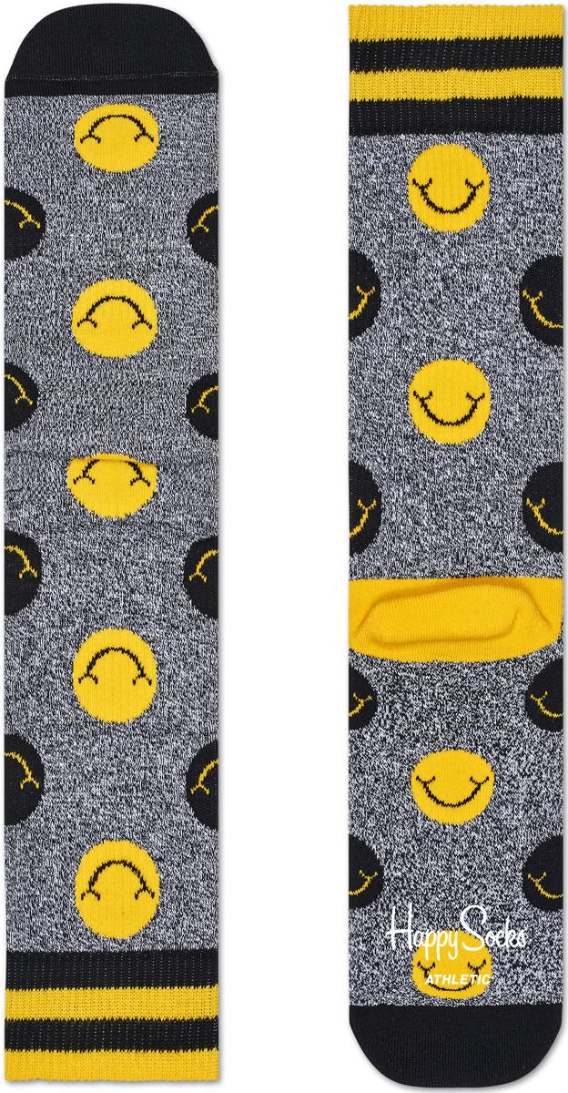 Носки женские Happy socks, цвет: серый, желтый. ATSMI27. Размер 25ATSMI27Носки Happy Socks, изготовленные из высококачественного материала, дополнены принтом. Эластичная резинка плотно облегает ногу, не сдавливая ее. Усиленная пятка и мысок обеспечивают надежность и долговечность.