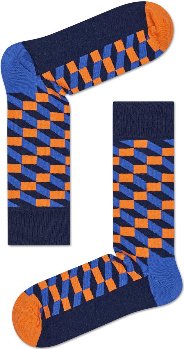 Носки женские Happy socks, цвет: синий, оранжевый. FIO01. Размер 25FIO01Носки Happy Socks, изготовленные из высококачественного материала, дополнены принтом. Эластичная резинка плотно облегает ногу, не сдавливая ее. Усиленная пятка и мысок обеспечивают надежность и долговечность.