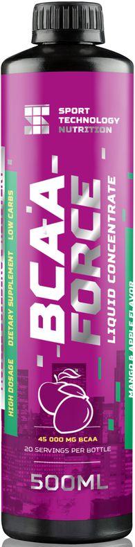 BCAA Sport Technology Nutrition Force, манго, яблоко, 500 мл4607087122159Незаменимый продукт для питания спортсменов. Жидкий комплекс аминокислот ВСАА в соотношении 2:1:1 предназначен для восстановления мышц после тренировки и наращивания сухой мышечной массы. Обеспечивают мышцы дополнительной энергией во время тренировки.Как и все продукты Sport Technology Nutrition состоит из безопасных для здоровья и тщательно отобранных нутриентов.Произведен на основе импортного сырья высшего качества: Л-Карнитин - WIRUD (Германия), Lonza (Швейцария).Ароматическая основа - Dohler (Германия), UTS (Голландия). Подсластители - Dohler (Германия). Количество питательных веществ в одной порции продукта (25 мл): энергетическая ценность 15 ккал, жиры 0 г, углеводы 1 г, (в т.ч. из фруктозы), белки 2,25 г, соль 0 г, фруктоза 1 г, лейцин 1125 мг, валин 562,5 мг, изолейцин 562,5 мг, кофеин 15 мг. Рекомендации по применению: перед каждым употреблением взбалтывать. 25 мл сиропа развести в 50-100 мл воды по вкусу. Принимать 1-4 порции в день, в зависимости от интенсивности физических нагрузок. 1 чайная ложка - 5 мл/1 десертная ложка - 15,5/1 столовая ложка 20 мл.Внимание: продукт не предназначен для людей моложе 18 лет, кормящих и беременных женщин. Посоветуйтесь со специалистом перед тем, как начать прием продукта. Не превышайте рекомендованную дозировку. Меры предосторожности: хранить продукт в месте, недоступном для детей. При температуре не ниже 0°С и не выше 180°С. Избегать попадания прямых солнечных лучей. Не является заменителем пищи. Нежелательно употреблять продукт чаще рекомендуемой дозировки.