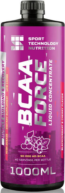 BCAA Sport Technology Nutrition Force, черная смородина, вишня, 1 л46070871222111Незаменимый продукт для питания спортсменов. Жидкий комплекс аминокислот ВСАА в соотношении 2:1:1 предназначен для восстановления мышц после тренировки и наращивания сухой мышечной массы. Обеспечивают мышцы дополнительной энергией во время тренировки.Как и все продукты Sport Technology Nutrition состоит из безопасных для здоровья и тщательно отобранных нутриентов.Произведен на основе импортного сырья высшего качества: Л-Карнитин - WIRUD (Германия), Lonza (Швейцария).Ароматическая основа - Dohler (Германия), UTS (Голландия). Подсластители - Dohler (Германия). Количество питательных веществ в одной порции продукта (25 мл): энергетическая ценность 15 ккал, жиры 0 г, углеводы 1 г, (в т.ч. из фруктозы), белки 2,25 г, соль 0 г, фруктоза 1 г, лейцин 1125 мг, валин 562,5 мг, изолейцин 562,5 мг, кофеин 15 мг. Рекомендации по применению: перед каждым употреблением взбалтывать. 25 мл сиропа развести в 50-100 мл воды по вкусу. Принимать 1-4 порции в день, в зависимости от интенсивности физических нагрузок. 1 чайная ложка - 5 мл/1 десертная ложка - 15,5/1 столовая ложка 20 мл.Внимание: продукт не предназначен для людей моложе 18 лет, кормящих и беременных женщин. Посоветуйтесь со специалистом перед тем, как начать прием продукта. Не превышайте рекомендованную дозировку. Меры предосторожности: хранить продукт в месте, недоступном для детей. При температуре не ниже 0°С и не выше 180°С. Избегать попадания прямых солнечных лучей. Не является заменителем пищи. Нежелательно употреблять продукт чаще рекомендуемой дозировки.
