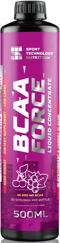 BCAA Sport Technology Nutrition Force, черная смородина, вишня, 500 мл46070871222142Незаменимый продукт для питания спортсменов. Жидкий комплекс аминокислот ВСАА в соотношении 2:1:1 предназначен для восстановления мышц после тренировки и наращивания сухой мышечной массы. Обеспечивают мышцы дополнительной энергией во время тренировки.Как и все продукты Sport Technology Nutrition состоит из безопасных для здоровья и тщательно отобранных нутриентов.Произведен на основе импортного сырья высшего качества: Л-Карнитин - WIRUD (Германия), Lonza (Швейцария).Ароматическая основа - Dohler (Германия), UTS (Голландия). Подсластители - Dohler (Германия). Количество питательных веществ в одной порции продукта (25 мл): энергетическая ценность 15 ккал, жиры 0 г, углеводы 1 г, (в т.ч. из фруктозы), белки 2,25 г, соль 0 г, фруктоза 1 г, лейцин 1125 мг, валин 562,5 мг, изолейцин 562,5 мг, кофеин 15 мг. Рекомендации по применению: перед каждым употреблением взбалтывать. 25 мл сиропа развести в 50-100 мл воды по вкусу. Принимать 1-4 порции в день, в зависимости от интенсивности физических нагрузок. 1 чайная ложка - 5 мл/1 десертная ложка - 15,5/1 столовая ложка 20 мл.Внимание: продукт не предназначен для людей моложе 18 лет, кормящих и беременных женщин. Посоветуйтесь со специалистом перед тем, как начать прием продукта. Не превышайте рекомендованную дозировку. Меры предосторожности: хранить продукт в месте, недоступном для детей. При температуре не ниже 0°С и не выше 180°С. Избегать попадания прямых солнечных лучей. Не является заменителем пищи. Нежелательно употреблять продукт чаще рекомендуемой дозировки.