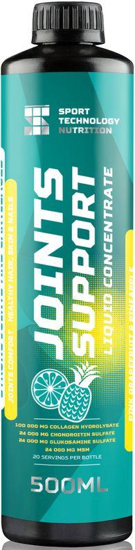 Препарат для суставов и связок Sport Technology Nutrition Joint Support, концентрированный, грейпфрут-ананас, 500 мл4607087122289Препарат для суставов и связок Sport Technology Nutrition Joint Support - жидкий комплекс аминокислот из гидролизата коллагена в связке с хондроитином, глюкозамином и метилсульфонилметаном. Активнодействующие компоненты позволяют восстанавливать хрящевую ткань, стимулируют выработку в организме внутрисуставной жидкости, увеличивают гибкость и подвижность суставов. Состоит из безопасных для здоровья и тщательно отобранных нутриентов. Не токсичен, не вызывает побочных эффектов.Перед каждым употреблением взбалтывать. Принимать утром и вечером перед едой по 25 мл.Состав (на 1 порцию): изолейцин - 57 мг, лейцин - 143 мг, валин - 125 мг, аланин - 425 мг, аргинин - 409 мг, аспарагин - 706 мг, глутамин - 475 мг, глицин - 1155 мг, гистидин - 32 мг, гидроксилизин - 25 мг, гидроксипролин - 495 мг, лизин - 197 мг, метионин - 41 мг, фенилаланин - 94 мг, пролин - 690 мг, серин - 165 мг, треонин - 87 мг, тирозин - 38 мг.Товар сертифицирован.Как повысить эффективность тренировок с помощью спортивного питания? Статья OZON Гид