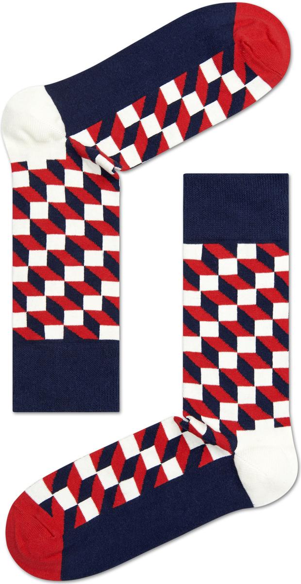 Носки женские Happy socks, цвет: темно-синий, красный. FO01. Размер 25FO01Носки Happy Socks, изготовленные из высококачественного материала, дополнены принтом. Эластичная резинка плотно облегает ногу, не сдавливая ее. Усиленная пятка и мысок обеспечивают надежность и долговечность.