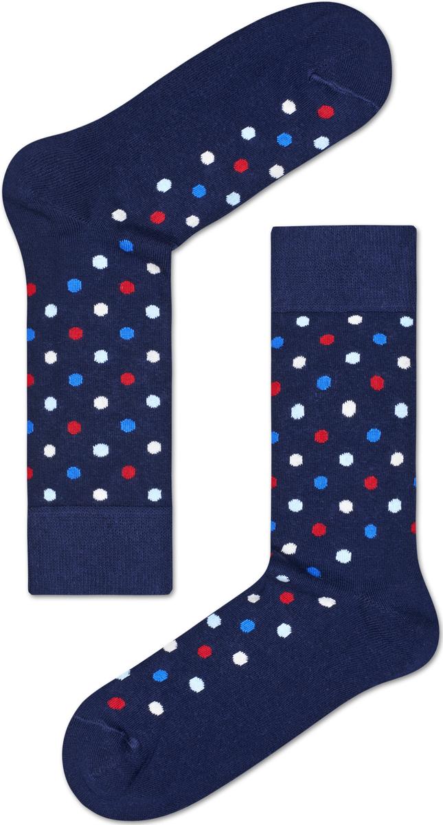 Носки женские Happy socks, цвет: темно-синий, мультиколор. DOT01. Размер 25DOT01Носки Happy Socks, изготовленные из высококачественного материала, дополнены принтом. Эластичная резинка плотно облегает ногу, не сдавливая ее. Усиленная пятка и мысок обеспечивают надежность и долговечность.