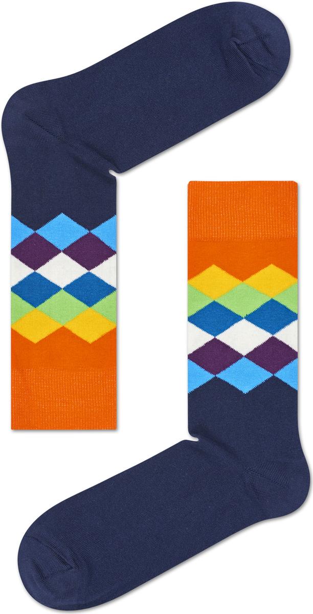 Носки женские Happy socks, цвет: темно-синий, оранжевый. FAD01. Размер 25FAD01Носки Happy Socks, изготовленные из высококачественного материала, дополнены принтом. Эластичная резинка плотно облегает ногу, не сдавливая ее. Усиленная пятка и мысок обеспечивают надежность и долговечность.