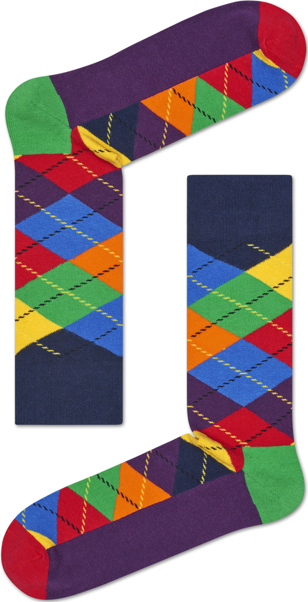 носки happy socks ary01 2002 Носки женские Happy socks, цвет: фиолетовый, мультиколор. ARY01. Размер 25
