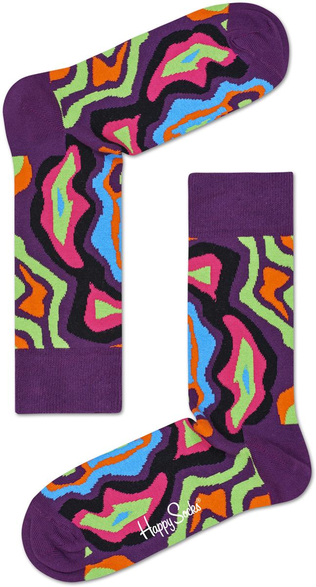 Носки женские Happy socks, цвет: фиолетовый, мультиколор. MRI01. Размер 25MRI01Носки Happy Socks, изготовленные из высококачественного материала, дополнены принтом. Эластичная резинка плотно облегает ногу, не сдавливая ее. Усиленная пятка и мысок обеспечивают надежность и долговечность.