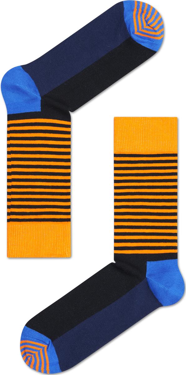 Носки женские Happy socks, цвет: оранжевый, черный, синий. SH01. Размер 29SH01Носки Happy Socks, изготовленные из высококачественного материала, дополнены принтом. Эластичная резинка плотно облегает ногу, не сдавливая ее. Усиленная пятка и мысок обеспечивают надежность и долговечность.
