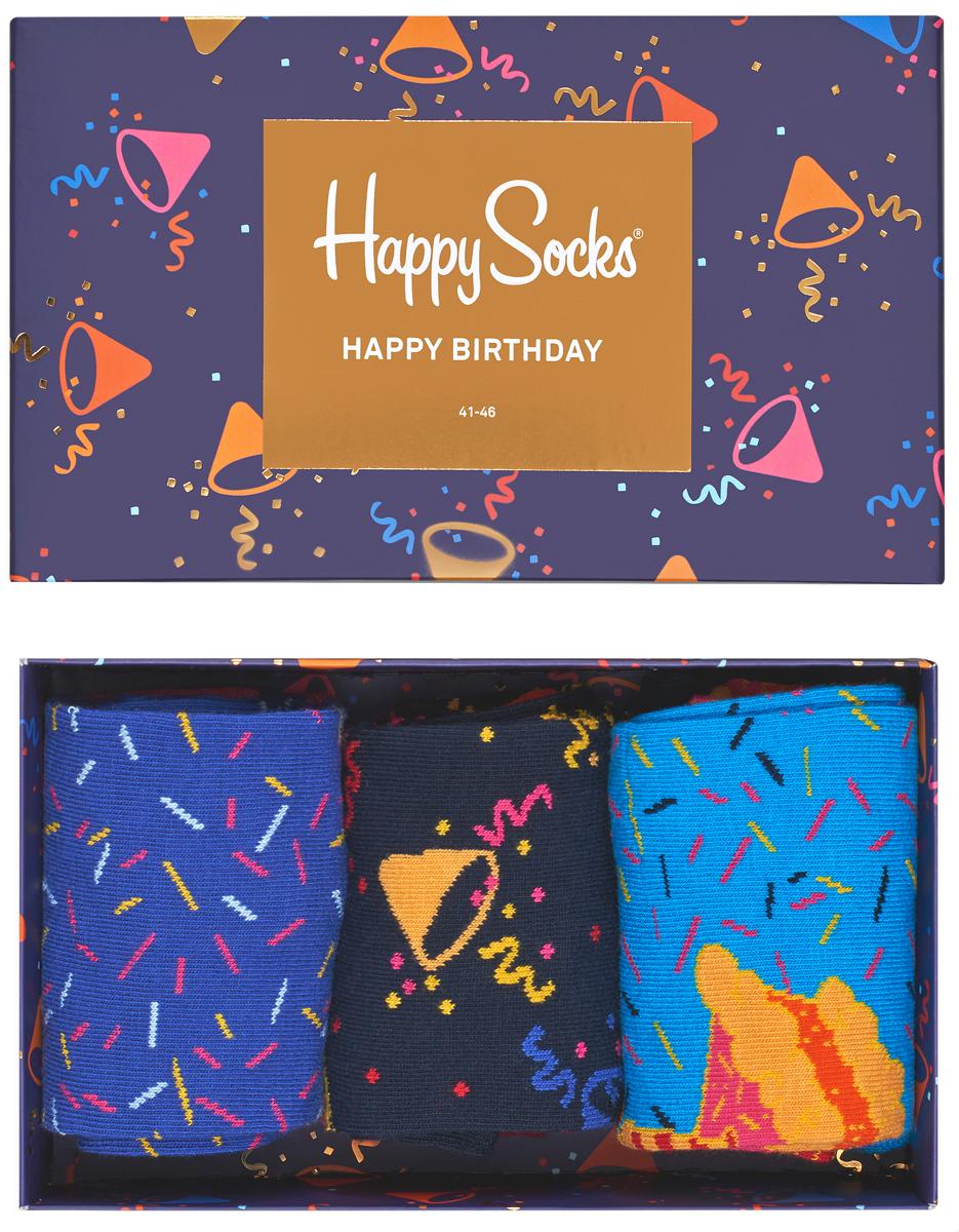 Комплект носков Happy socks, цвет: мультиколор. XBDA08. Размер 29XBDA08Яркие носки Big Bang Socks выполнены из высококачественного хлопка с добавлением полиамида и эластана, которые обеспечивают отличную посадку. В комплект входит три пары разноцветных носков с разными принтами. Модель оснащена эластичной резинкой, которая плотно облегает ногу, не сдавливая ее, обеспечивает удобство. Комплект упакован в фирменную коробку.