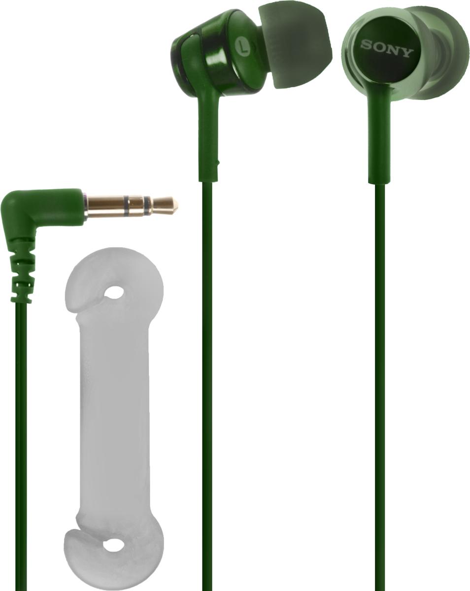 Sony EX155, Green наушникиMDREX155G.EНаушники-вкладыши Sony EX155 обеспечивают отличный динамический звук даже на ходу.Высокочувствительные 9-миллиметровые динамики в компактном корпусе обеспечивают четкое звучание верхних частот и мощные басы.Устойчивый к спутыванию и перекручиванию рифленый кабель обеспечивает комфорт при использовании наушников.Вкладыши четырех размеров (SS, S, M и L) позволяют адаптировать наушники под свои потребности для максимально комфортного прослушивания на ходу.