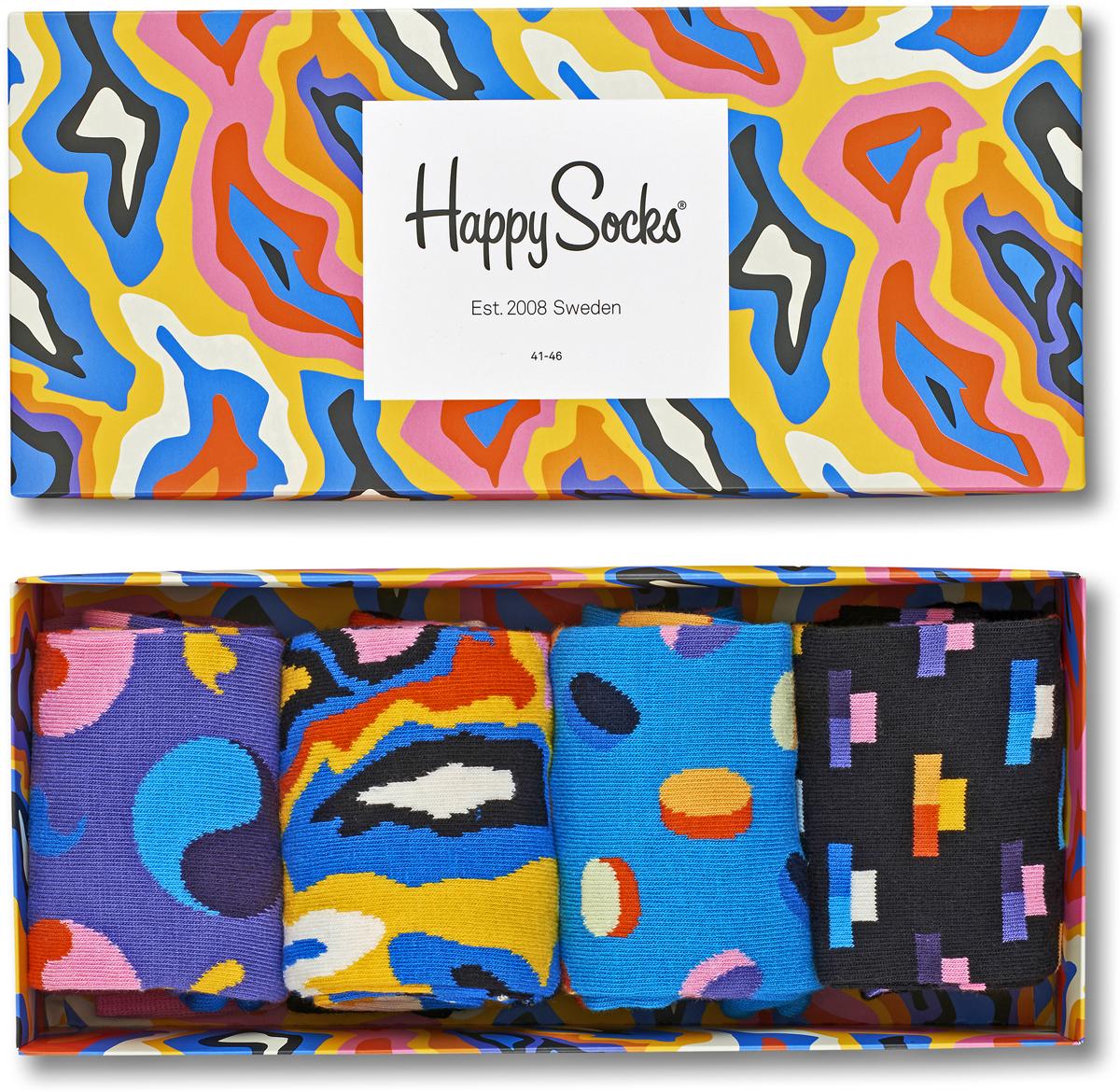 Комплект носков Happy socks, цвет: мультиколор. XPOP09. Размер 29XPOP09Яркие носки Big Bang Socks выполнены из высококачественного хлопка с добавлением полиамида и эластана, которые обеспечивают отличную посадку. В комплект входит четыре пары разноцветных носков с разными принтами. Модель оснащена эластичной резинкой, которая плотно облегает ногу, не сдавливая ее, обеспечивает удобство. Комплект упакован в фирменную коробку.