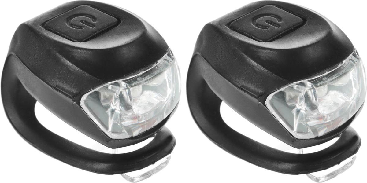 Набор силиконовых фонарей STG JY-267-2B, 2 белых и 2 красных диода, 3 функцииХ66194Компактные силиконовые фонари STG JY-267-2B предназначены для установки на велосипед (на подседельную трубу или руль - диаметр 22-31,8 мм). Фонари выполнены резины и пластика. Они легко крепятся и не боятся ударов или падений. В комплекте белый и красный диодные фонари с 3 функциями мигания (мерцание и свечение).
