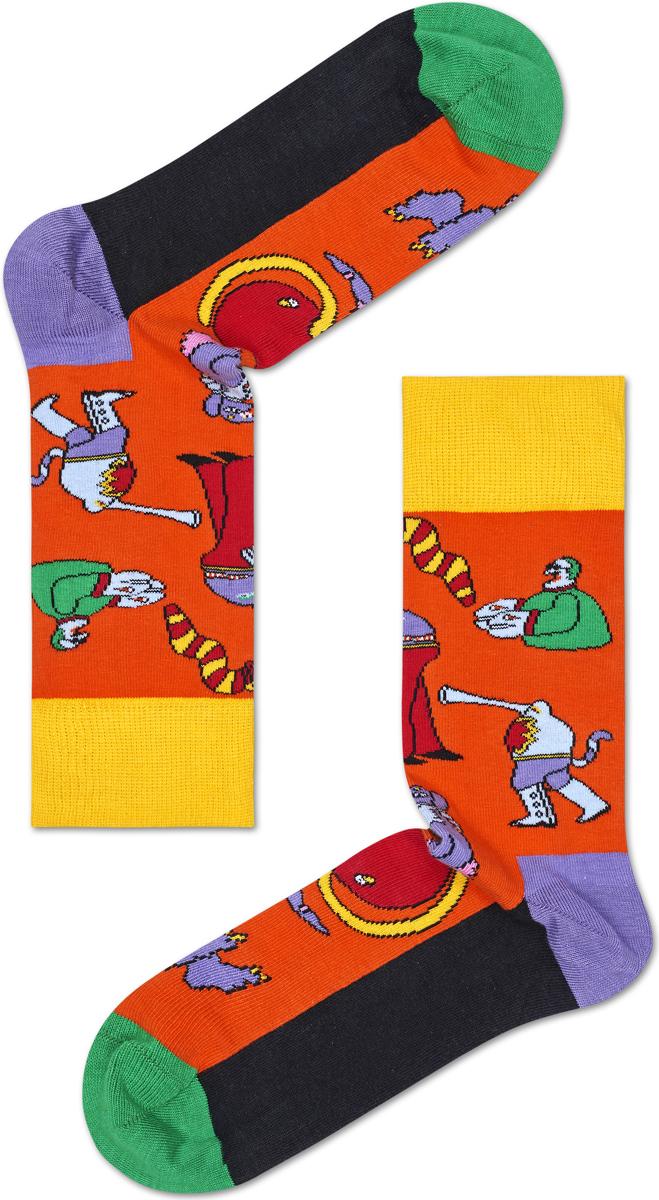 Носки мужские Happy socks, цвет: оранжевый. BEA01. Размер 29BEA01Носки Happy Socks, изготовленные из высококачественного материала, дополнены принтом. Эластичная резинка плотно облегает ногу, не сдавливая ее. Усиленная пятка и мысок обеспечивают надежность и долговечность.