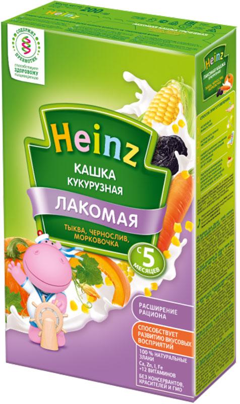 Heinz Лакомая каша кукурузная тыква, чернослив, морковочка, с 5 месяцев, 200 г каша молочная heinz лакомая пшенично кукурузная персик банан вишенка с 6 мес 200 г