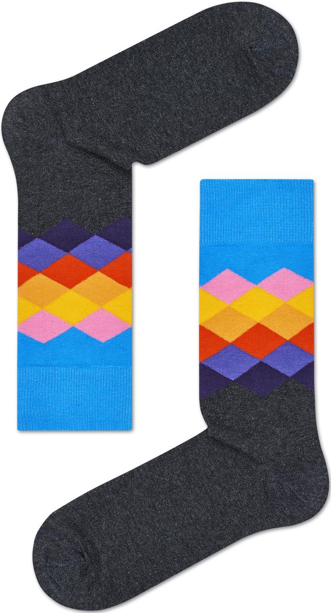 Носки женские Happy socks, цвет: серый, голубой. FAD01. Размер 29FAD01Носки Happy Socks, изготовленные из высококачественного материала, дополнены принтом. Эластичная резинка плотно облегает ногу, не сдавливая ее. Усиленная пятка и мысок обеспечивают надежность и долговечность.