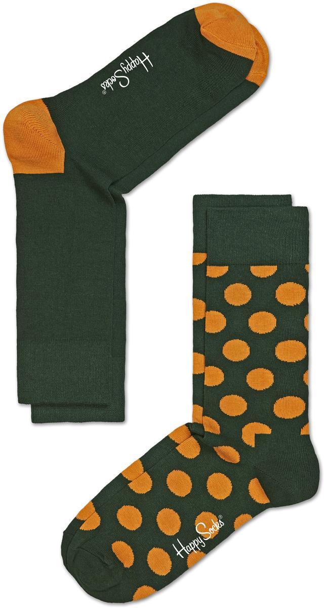 Комплект носков Happy socks, цвет: темно-зеленый, оранжевый. BD02. Размер 29BD02Носки Happy Socks, изготовленные из высококачественного материала, дополнены принтом. Эластичная резинка плотно облегает ногу, не сдавливая ее. Усиленная пятка и мысок обеспечивают надежность и долговечность. В комплект входит две пары носков.