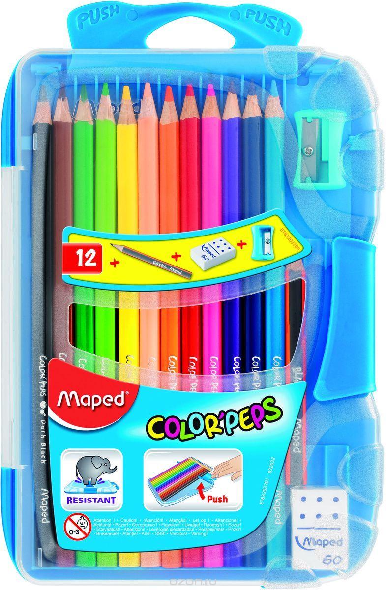 Maped Набор цветных карандашей Colorpeps 12 цветов с ластиком и точилкой цвет пенала голубой832032Набор цветных карандашей Maped Colorpeps поможет создать чудные картины вашему юному художнику.Карандаши изготовлены издревесины американской липы. Мягкий грифель карандаша легко рисует на бумаге и не царапает ее, устойчив к механическим деформациям илегко затачивается. Трехгранный корпус изготовлен из натуральной древесины и покрыт лаком на водной основе. В набор входят 12 цветных карандашей. С таким набором будет интересно рисовать не только вашему малышу, но и вам.