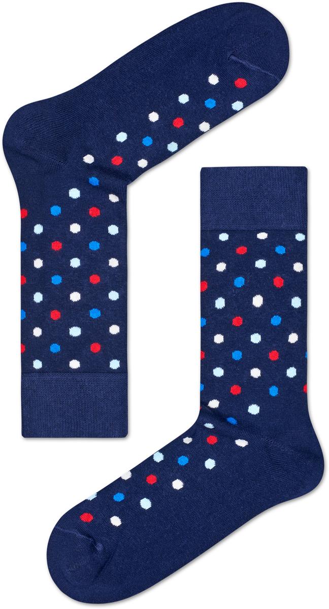 Носки женские Happy socks, цвет: темно-синий, мультиколор. DOT01. Размер 29DOT01Носки Happy Socks, изготовленные из высококачественного материала, дополнены принтом. Эластичная резинка плотно облегает ногу, не сдавливая ее. Усиленная пятка и мысок обеспечивают надежность и долговечность.