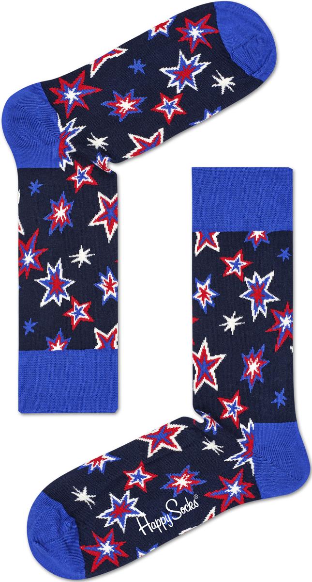 Носки женские Happy socks, цвет: темно-синий, голубой. BNG01. Размер 29BNG01Носки Happy Socks, изготовленные из высококачественного материала, дополнены принтом. Эластичная резинка плотно облегает ногу, не сдавливая ее. Усиленная пятка и мысок обеспечивают надежность и долговечность.