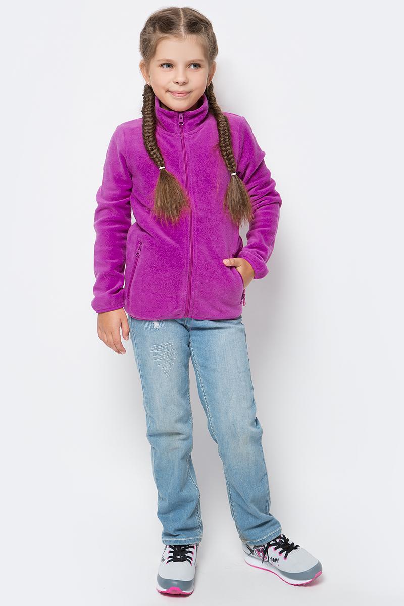 Толстовка для девочки PlayToday, цвет: темно-розовый. 372161. Размер 128372161Толстовка из мягкого флиса PlayToday отлично подойдет в качестве второго слоя для прогулок в прохладную погоду. Модель с длинными рукавами и воротником-стойкой, надежно защищающим от ветра, застегивается на молнию с защитой подбородка и дополнена двумя прорезными карманами на молниях. Манжеты рукавов и низ изделия на мягкой резинке.