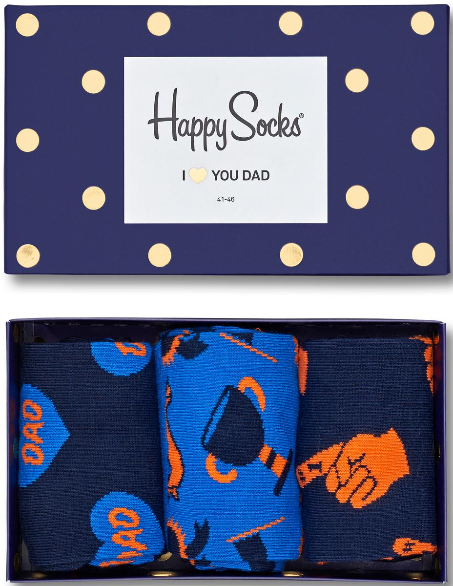 Комплект носков Happy socks, цвет: темно-синий, голубой. XFAT08. Размер 29XFAT08Яркие носки Big Bang Socks выполнены из высококачественного хлопка с добавлением полиамида и эластана, которые обеспечивают отличную посадку. В комплект входит три пары разноцветных носков с разными принтами. Модель оснащена эластичной резинкой, которая плотно облегает ногу, не сдавливая ее, обеспечивает удобство. Комплект упакован в фирменную коробку.