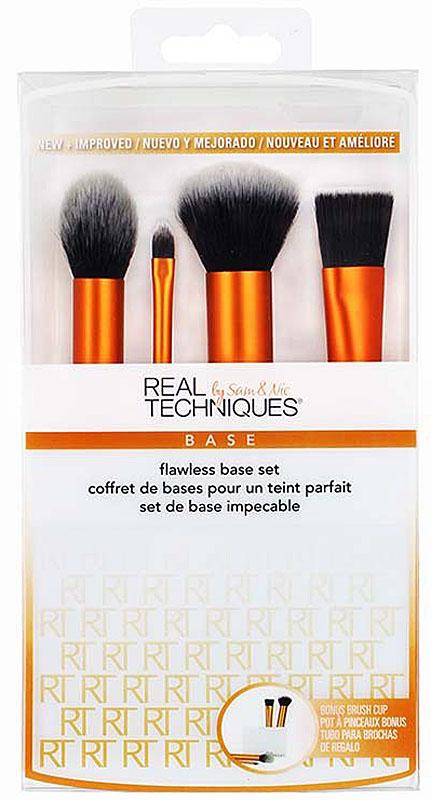Real Techniques Набор для макияжа Flawless Base Set1533MБазовый набор Flawless Base Set включает четыре кисти для создания идеального тона, а также удобную подставку для их хранения: contour brush: кисть для нанесения румян и контурирующих средств; detailer brush: плоская кисть для детальной проработки и маскировки несовершенств. Подсказка: можно использовать для макияжа губ; buffing brush: пушистая кисть для пудры; square foundation brush: плотно набитая кисть с плоским срезом для нанесения жидкой тональной основы; brush cup: удобная подставка для хранения кистей.