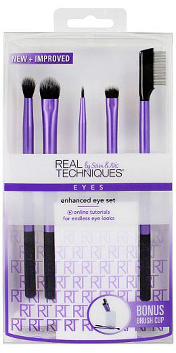 Real Techniques Набор для макияжа глаз Enhanced Eye Set 8pcs set brushes fingers grasp plastic handle brush contour foundation powder eye shadow eyebrow bronzer brushes makeup tool