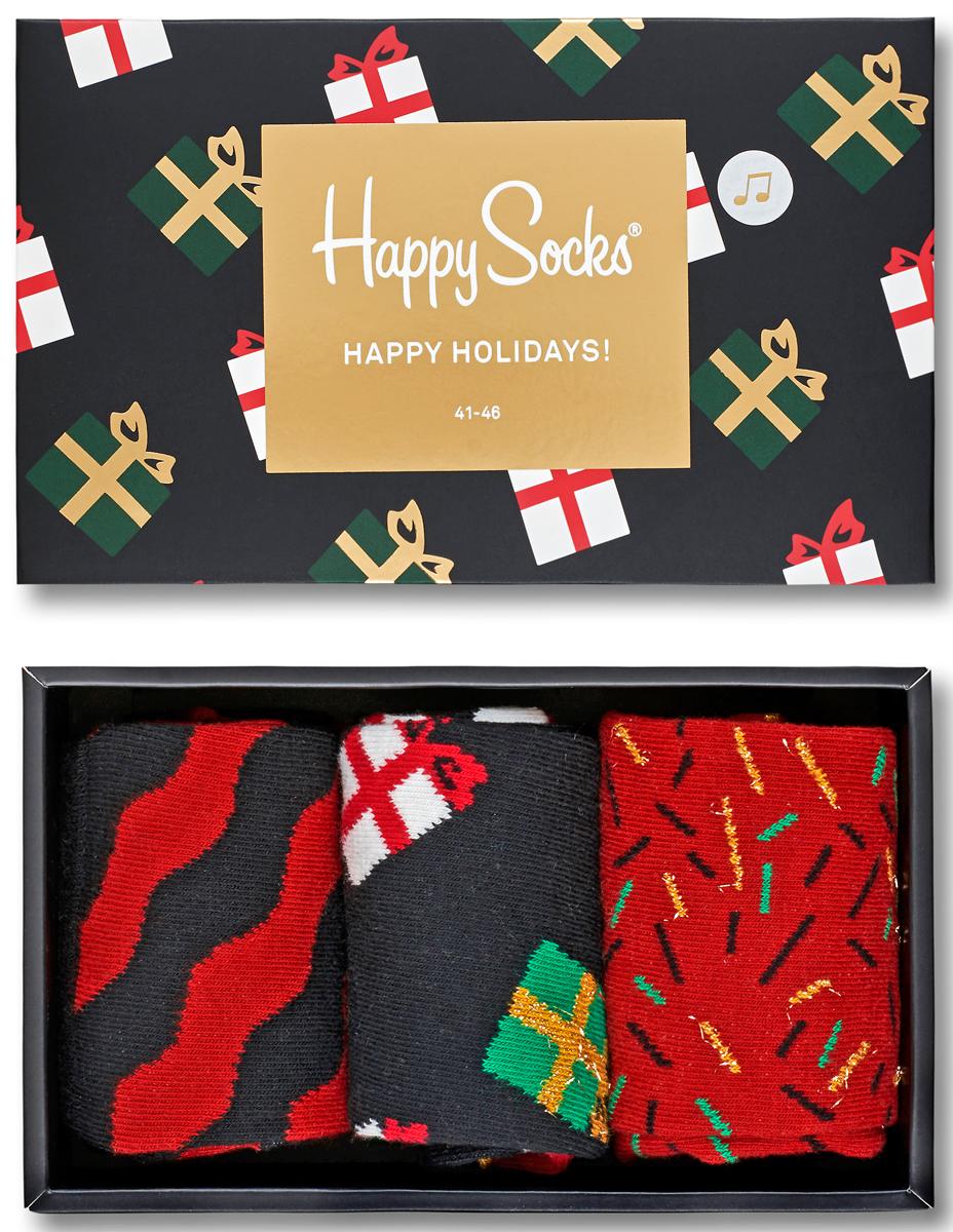Комплект носков Happy socks, цвет: черный, красный. XMAS08. Размер 29XMAS08Яркие носки Big Bang Socks выполнены из высококачественного хлопка с добавлением полиамида и эластана, которые обеспечивают отличную посадку. В комплект входит три пары носков с разными принтами. Модель оснащена эластичной резинкой, которая плотно облегает ногу, не сдавливая ее, обеспечивает удобство. Комплект упакован в фирменную коробку.