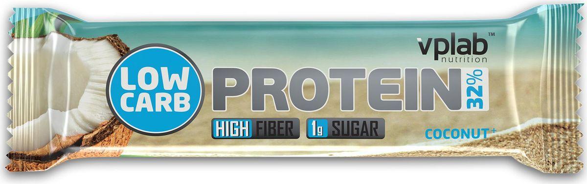 Батончик протеиновый Vplab Low Carb Protein Bar, кокос, 35 г высокопротеиновый батончик vplab 40% шоколад ваниль
