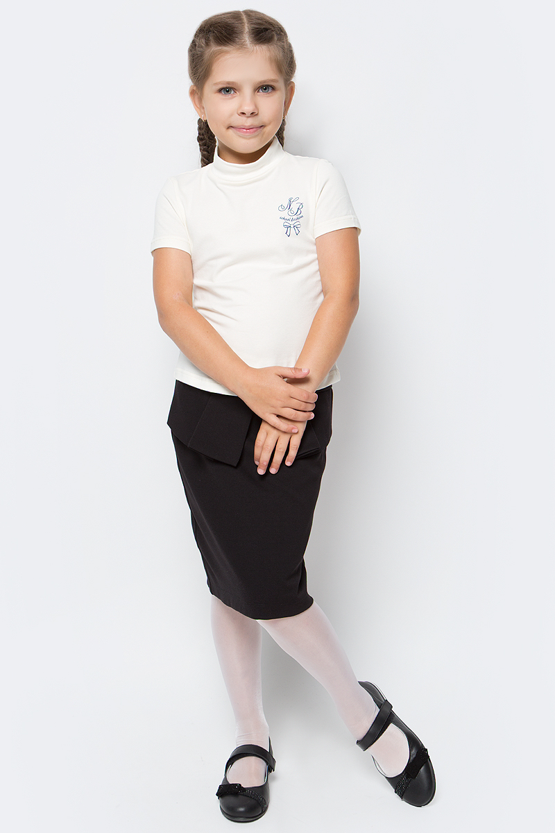 Водолазка для девочки Nota Bene, цвет: молочный. CJR27040B17. Размер 152CJR27040A17/CJR27040B17Водолазка для девочки Nota Bene выполнена из хлопкового трикотажа. Модель с короткими рукавами и воротником-стойкой на груди оформлена принтом.