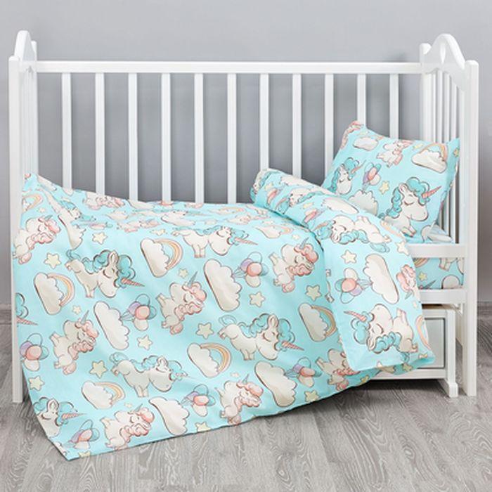 Кошки-мышки Комплект детского постельного белья Единорожки цвет голубой 3 предмета