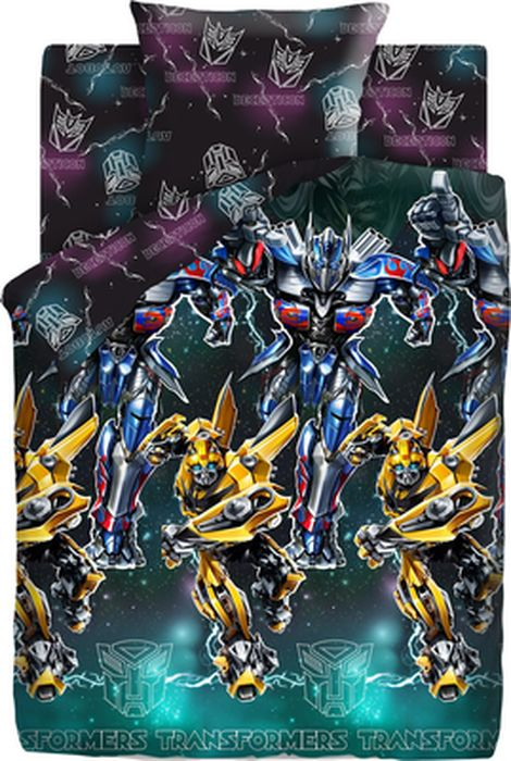Комплект детского постельного белья Transformers Оптимус Прайм и Бамблби, 1,5-спальный, наволочка 70х70