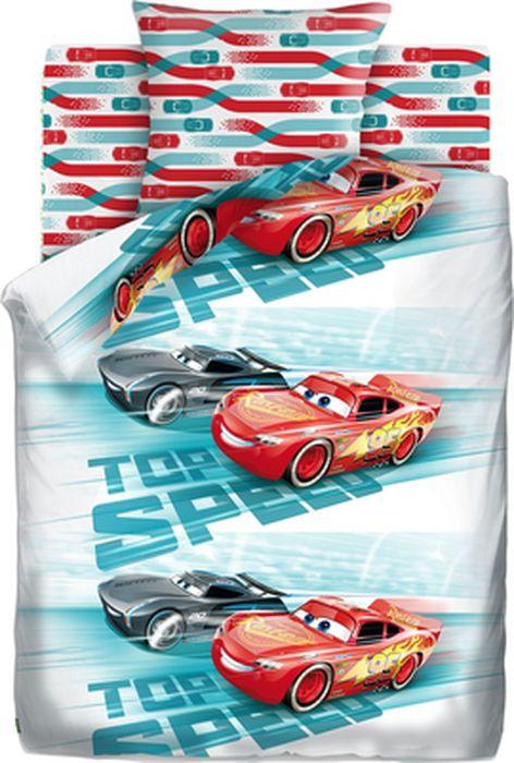 Комплект детского постельного белья Тачки Высокая скорость, с наклейкой, 1,5-спальный, наволочка 70х70428532