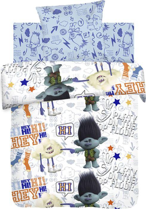 Комплект детского постельного белья Trolls Цветан и Облачко, 1,5-спальный, наволочка 70х70431573