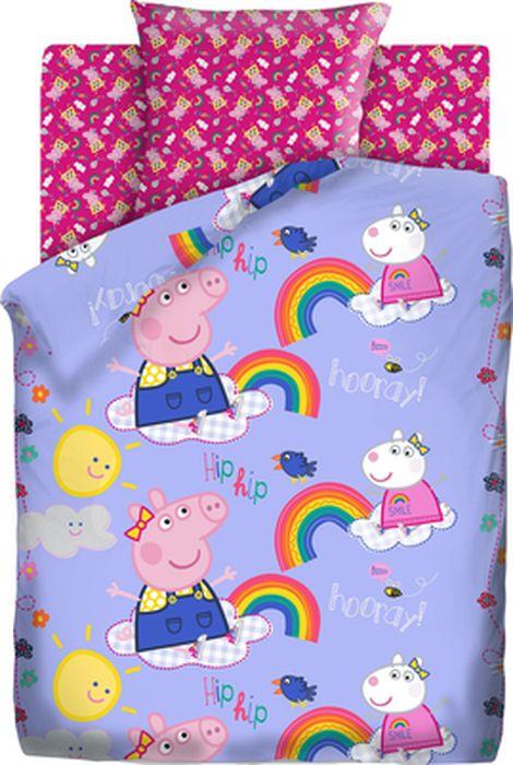 Комплект детского постельного белья Свинка Пеппа Пеппа и радуга, 1,5-спальный, наволочка 70х70 свинка пеппа комплект белья для новорожденных пеппа балерина
