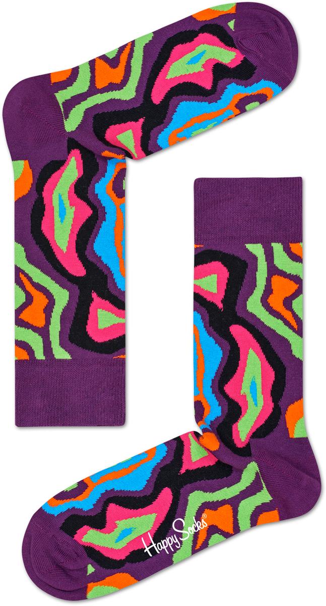 Носки женские Happy socks, цвет: фиолетовый, мультиколор. MRI01. Размер 29MRI01Носки Happy Socks, изготовленные из высококачественного материала, дополнены принтом. Эластичная резинка плотно облегает ногу, не сдавливая ее. Усиленная пятка и мысок обеспечивают надежность и долговечность.