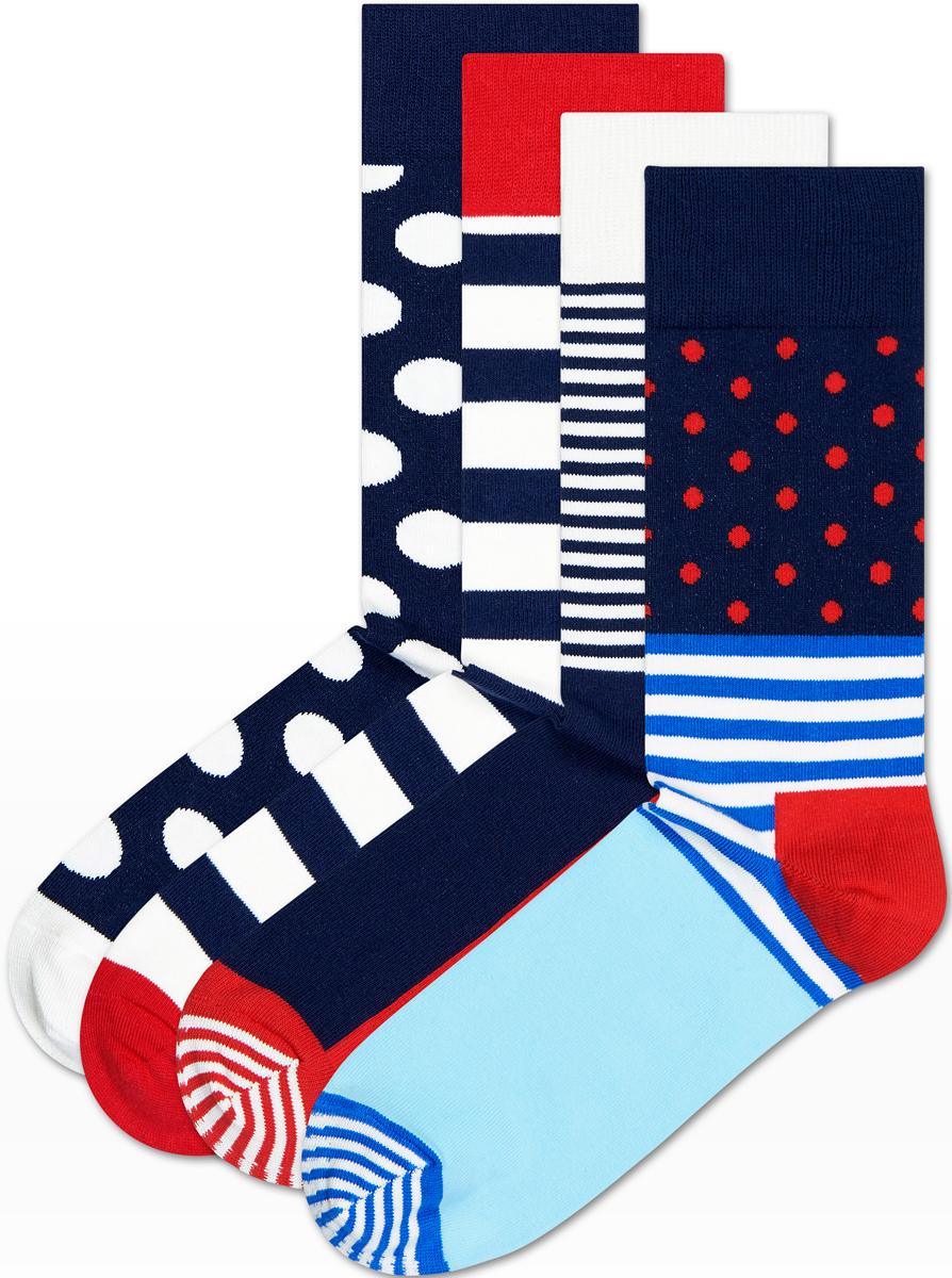 Комплект носков Happy socks, цвет: темно-синий, красный. XSA09. Размер 29XSA09Носки Happy Socks, изготовленные из высококачественного материала, дополнены принтом. Эластичная резинка плотно облегает ногу, не сдавливая ее. Усиленная пятка и мысок обеспечивают надежность и долговечность. В комплект входит четыре пары носков.