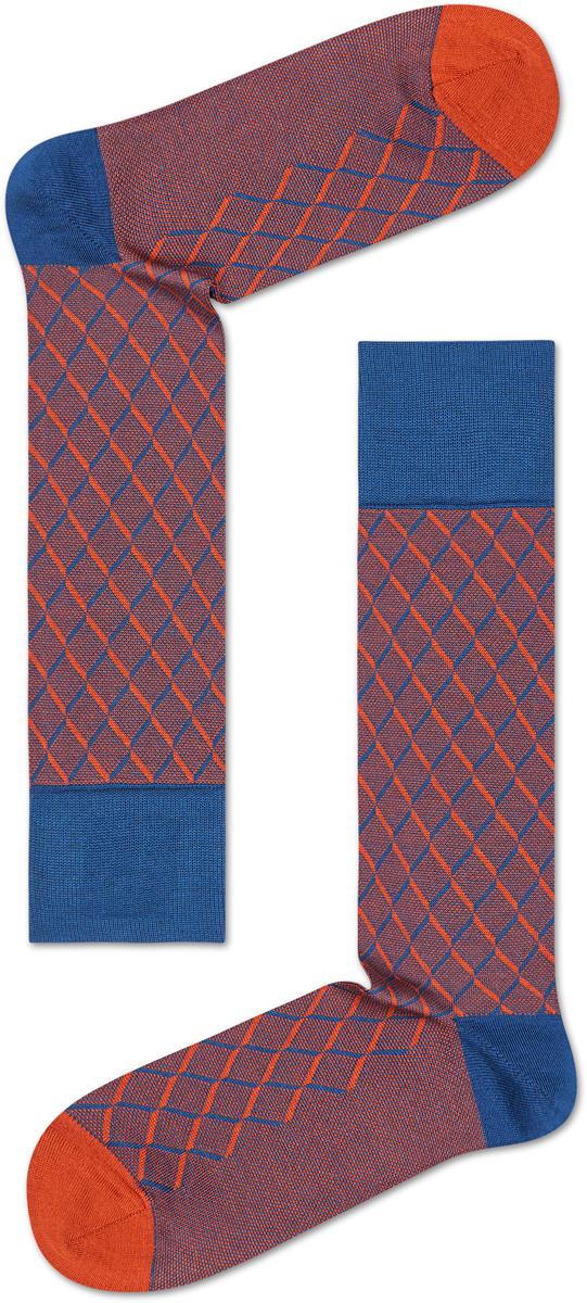 Носки женские Happy socks, цвет: синий, оранжевый. SQO34. Размер 29SQO34Носки Happy Socks, изготовленные из высококачественного материала, дополнены принтом. Эластичная резинка плотно облегает ногу, не сдавливая ее. Усиленная пятка и мысок обеспечивают надежность и долговечность.