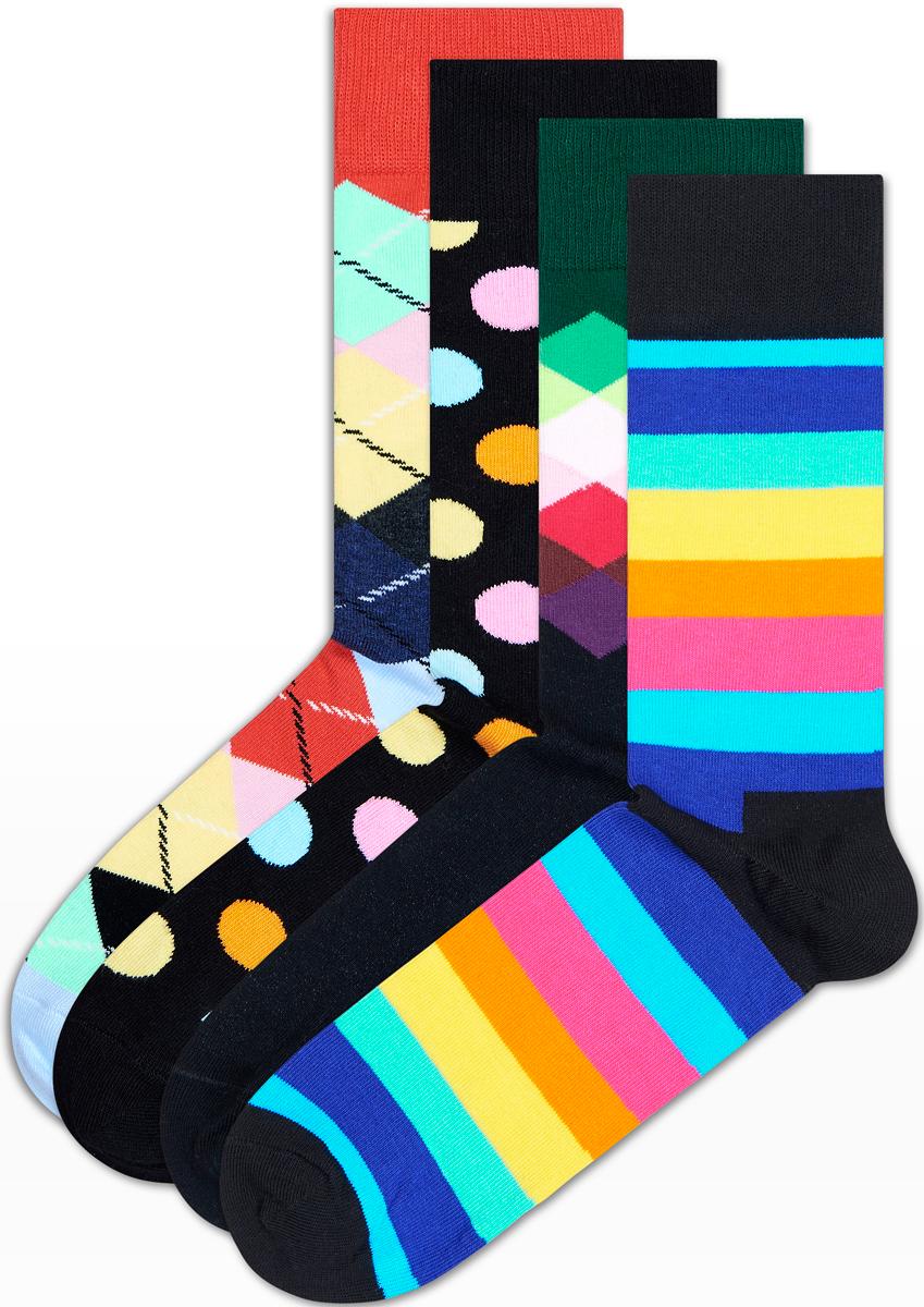 Комплект носков Happy socks, цвет: мультиколор. XSA09. Размер 25 комплект носков salomon socks festival цвет белый черный 2 пары l40277600 размер m 38 40
