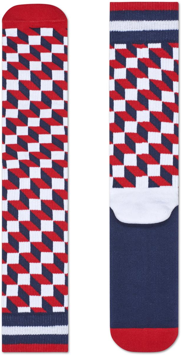 Носки женские Happy socks, цвет: красный, темно-синий. ATFIO27. Размер 25ATFIO27Носки Happy Socks, изготовленные из высококачественного материала, дополнены принтом. Эластичная резинка плотно облегает ногу, не сдавливая ее. Усиленная пятка и мысок обеспечивают надежность и долговечность.