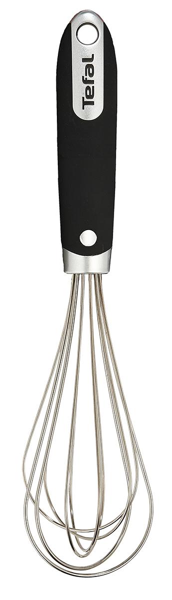Венчик Tefal Talent, цвет: металлик, черный, длина 25 см угловая лопатка tefal talent k0800614