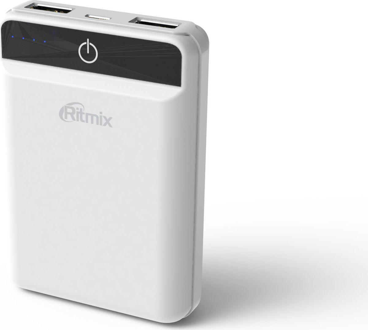 Ritmix RPB-10003L, White внешний аккумулятор (10000 мАч)15119474Power bank Li-Polymer, ёмкость 10 000мАч выход 2xUSB 5В 2,4А max, световой индикатор заряда, размер 92,5*64*23,5, цвет: белый