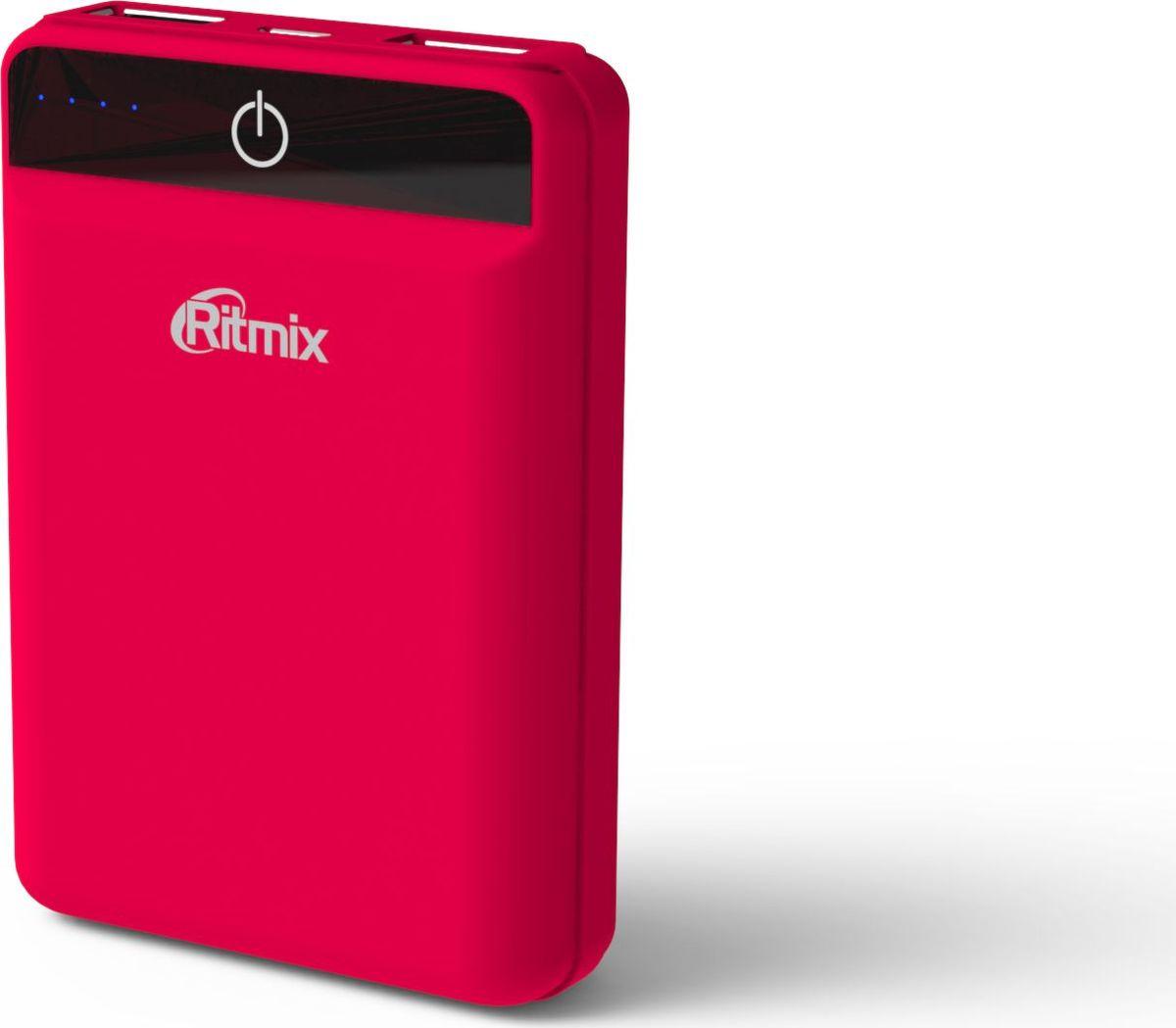 Ritmix RPB-10003L, Coral внешний аккумулятор (10000 мАч)15119475Ritmix RPB-10003L - это самый компактный в своем классе Power Bank с емкостью 10 000 мАч, предназначенный для зарядки мобильных телефонов, смартфонов, планшетов, MP3-плееров и любой другой техники с возможностью питания от USB-порта.Устройство оснащено двумя USB-портами до 2100 мА каждый (суммарно до 2,4 А) и микросхемой Smart IC, обеспечивая оптимальное питание и для старенького сотового телефона, и для новейшего планшета. Имеет мощный аккумулятор емкостью ресурсом не менее 500 циклов, а также LED-индикатор заряда.