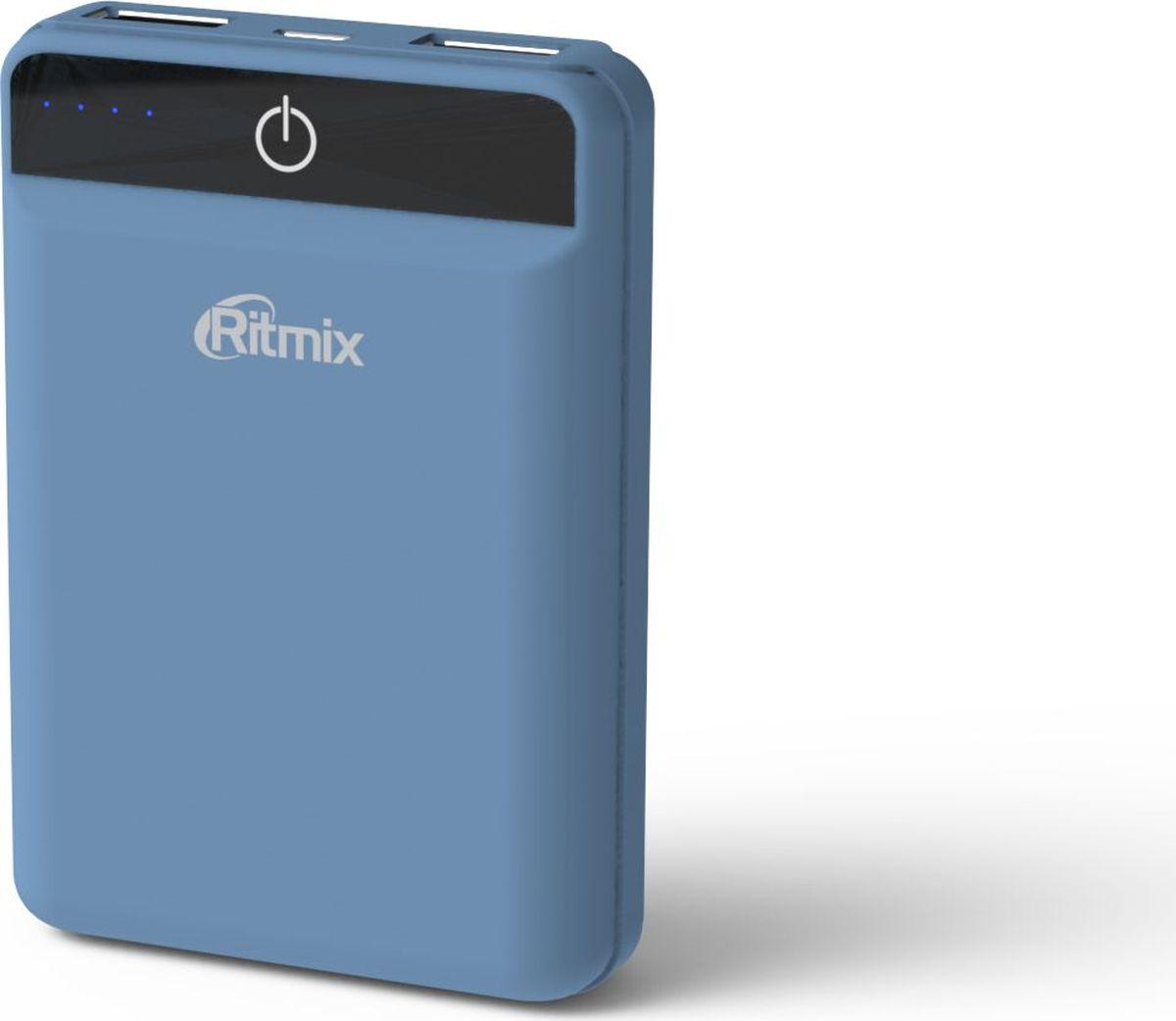 Ritmix RPB-10003L, Smoky Blue внешний аккумулятор (10000 мАч)15119476Ritmix RPB-10003L - это самый компактный в своем классе Power Bank с емкостью 10 000 мАч, предназначенный для зарядки мобильных телефонов, смартфонов, планшетов, MP3-плееров и любой другой техники с возможностью питания от USB-порта.Устройство оснащено двумя USB-портами до 2100 мА каждый (суммарно до 2,4 А) и микросхемой Smart IC, обеспечивая оптимальное питание и для старенького сотового телефона, и для новейшего планшета. Имеет мощный аккумулятор емкостью ресурсом не менее 500 циклов, а также LED-индикатор заряда.